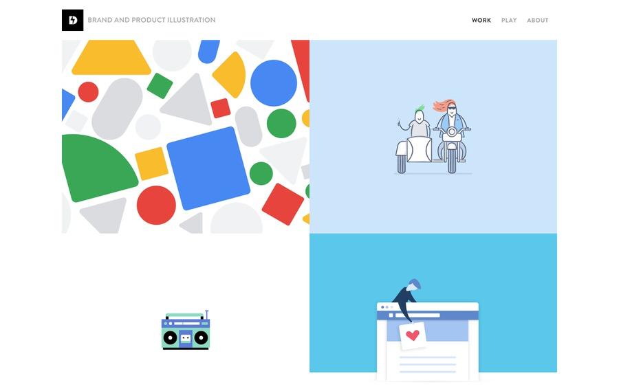 Ejemplo de sitio web de portafolio de ilustraciones de marcas y productos limpio y mínimo.
