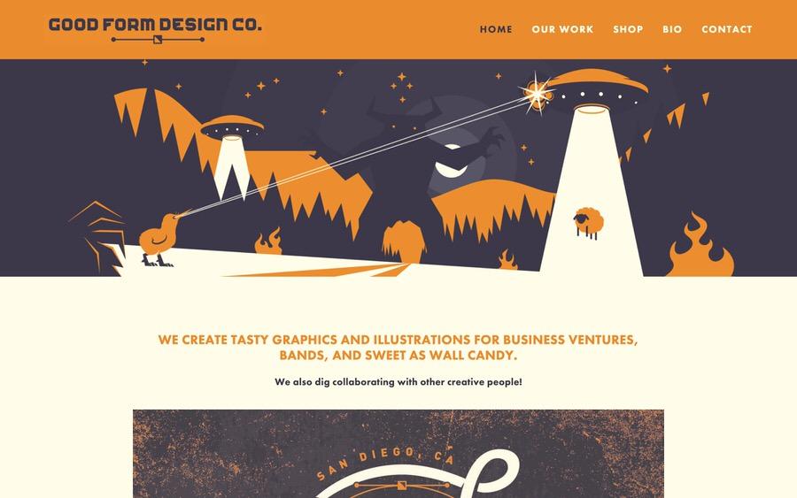 Ejemplo colorido, retro inspirado de la cartera del diseño gráfico.