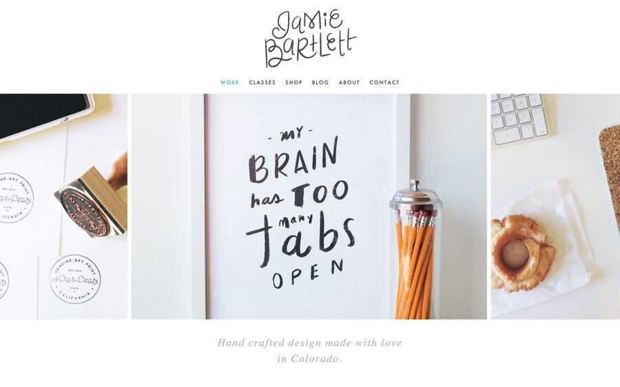 Un ejemplo de un sitio web de portafolio de diseñadores gráficos bien hecho por Jamie Bartlett Designs.