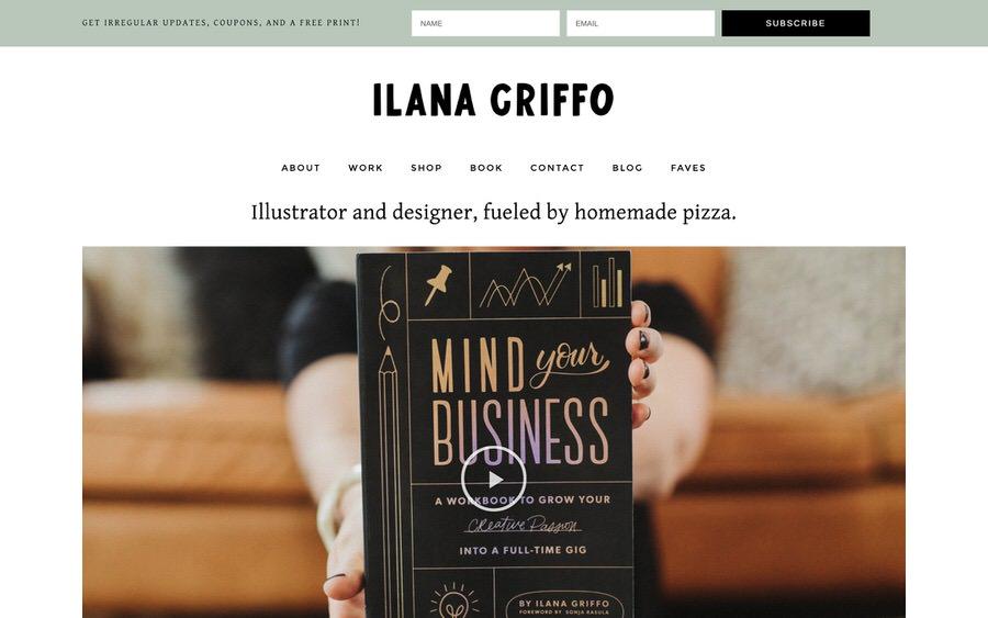 Un ejemplo de una buena página web de ilustrador y diseñador.