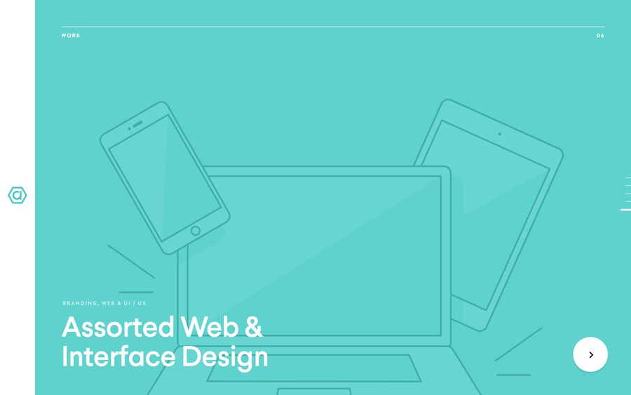 Ejemplo de diseño del sitio web de la galardonada cartera.