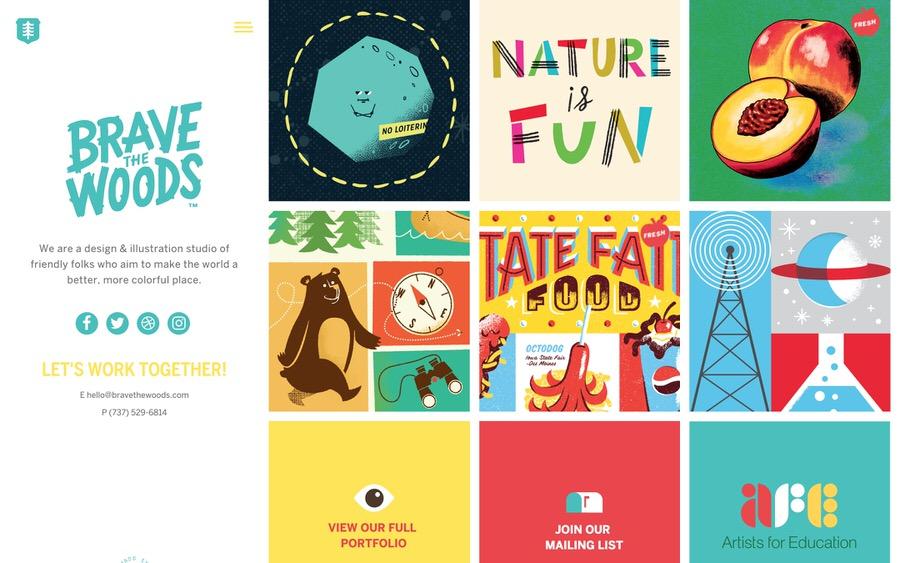 Ejemplo colorido y divertido del sitio web de la cartera de la ilustración.