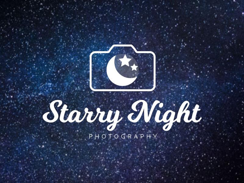 Logotipo de la fotografía de la luna y las estrellas.