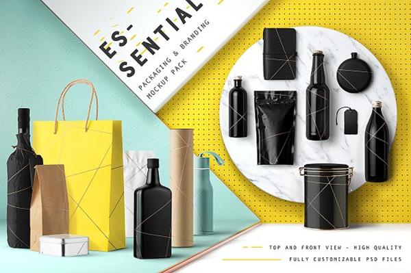 Maqueta de marca de packaging esencial