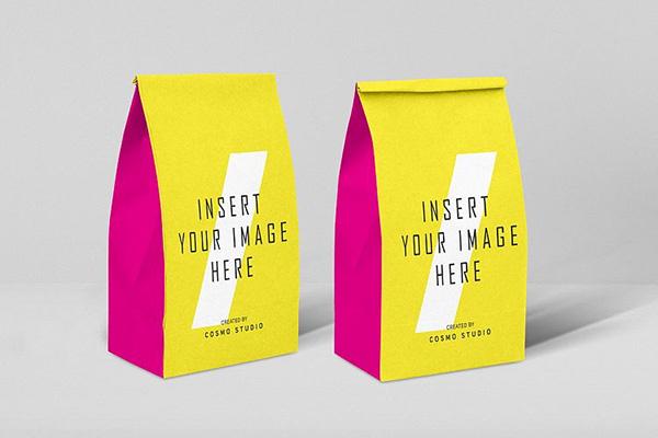mockups de empaques, 5 bolsas de papel maquetas