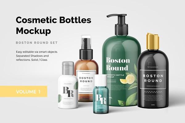 mockups de empaques, Botellas de cosméticos Maqueta Vol.1
