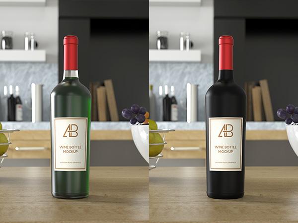 Maqueta de botella de vino PSD