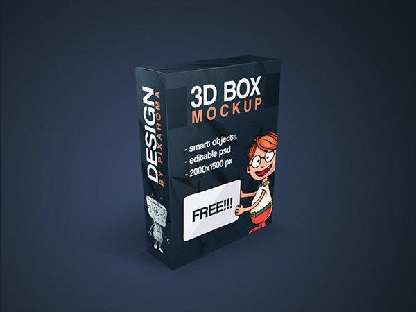 Plantilla PSD de maqueta de caja 3D