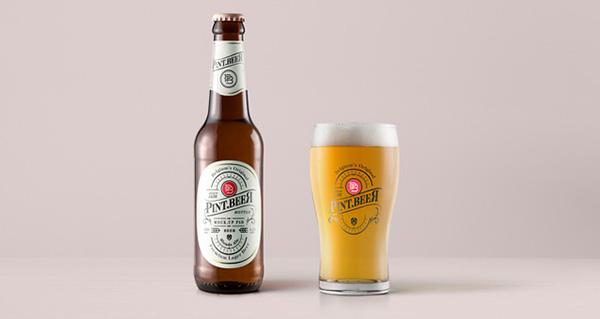 Maqueta de botella de cerveza Amber Psd
