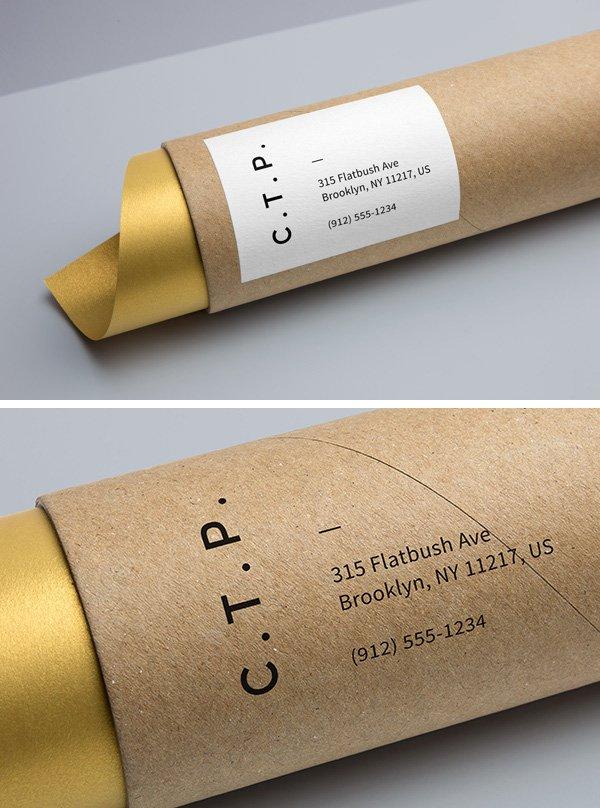 Embalaje de tubo de cartón maqueta