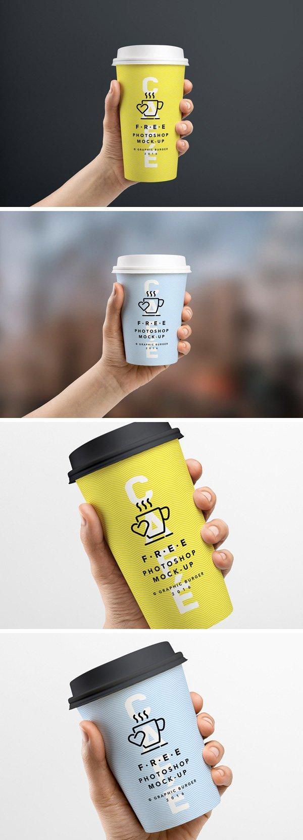 Taza de café en maqueta de mano