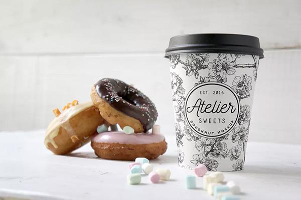 mockups de empaques, Maqueta de Donut de café