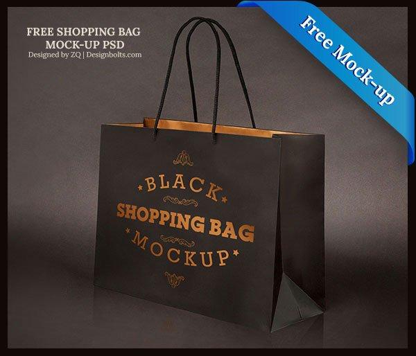 Bolsa de compras negra gratis, maqueta PSD