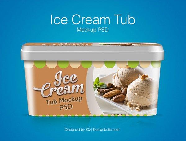 Plantilla de diseño de embalaje de la tina de helado