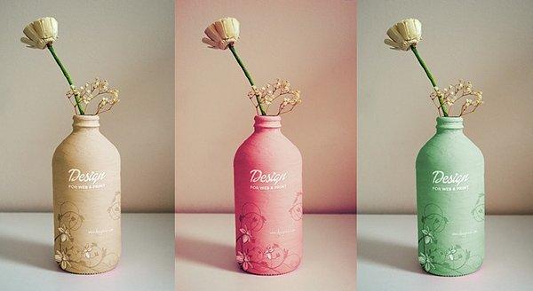 Maqueta de botella gratis hecha a mano