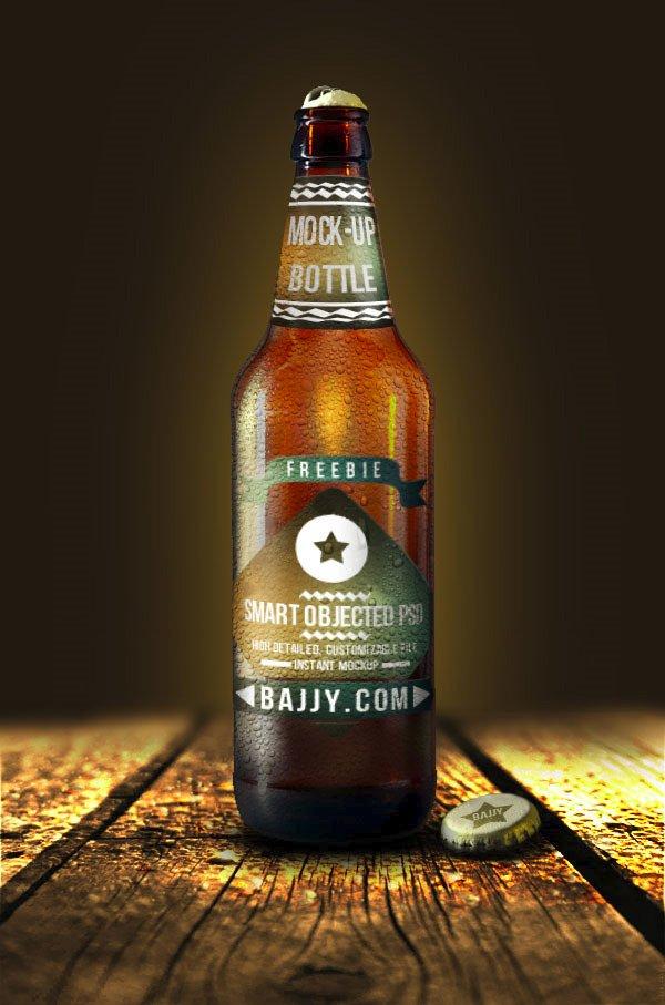 mockups de empaques, Botella de cerveza fresca