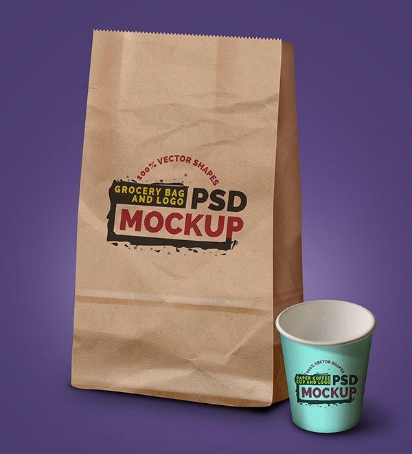 mockups de empaques, Bolsa de supermercado, taza de café y logotipo - Plantilla PSD gratis para maquetas