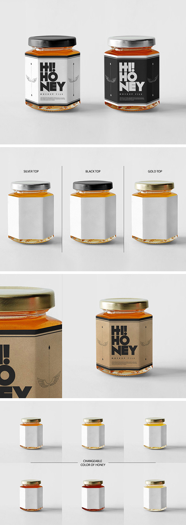 mockups de empaques, Maqueta de tarro de miel
