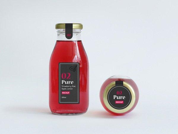 Botella de jugo de embalaje maqueta