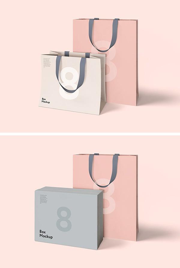 mockups de empaques, Caja de lujo y bolsa de maquetas