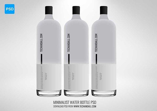 mockups de empaques, Maqueta de botella de agua minimalista