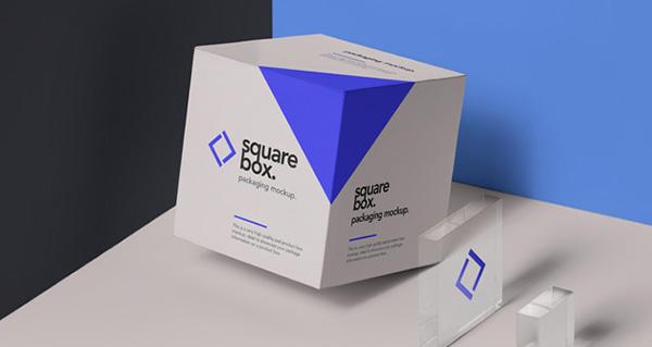 Maqueta de empaquetado de la caja psd cuadrada