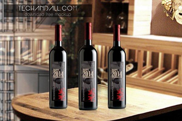 mockups de empaques, Maqueta de botella de vino