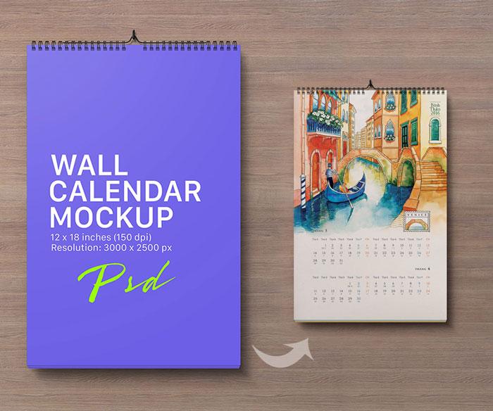 Retrato-pared-calendario-maqueta-PSD libre
