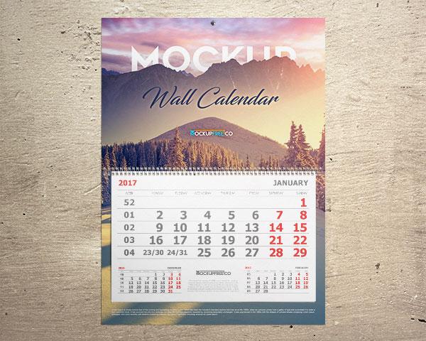 Maqueta mensual del calendario