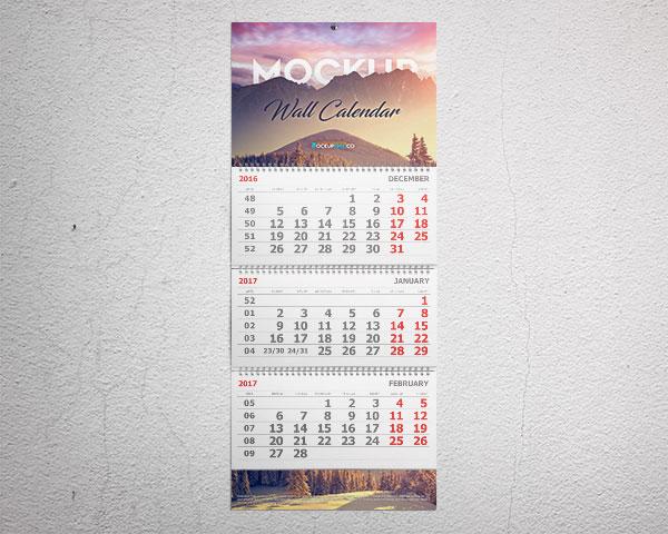 Calendario de pared Calendario de 3 meses