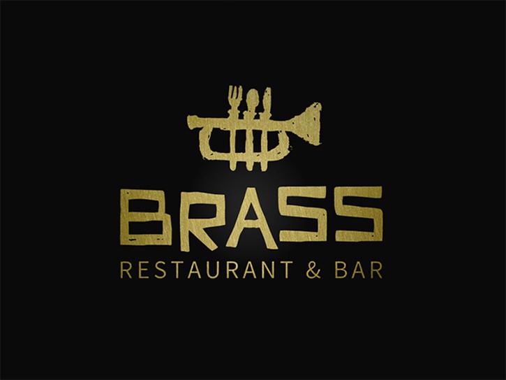 Logotipos de Alimentos, logotipo de restaurante de latón