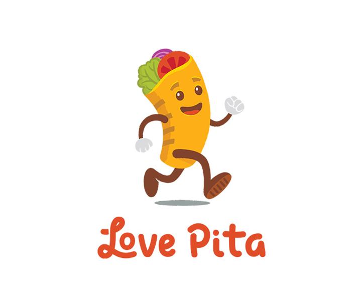 Mejores Logos de comida: amor logotipo de pita