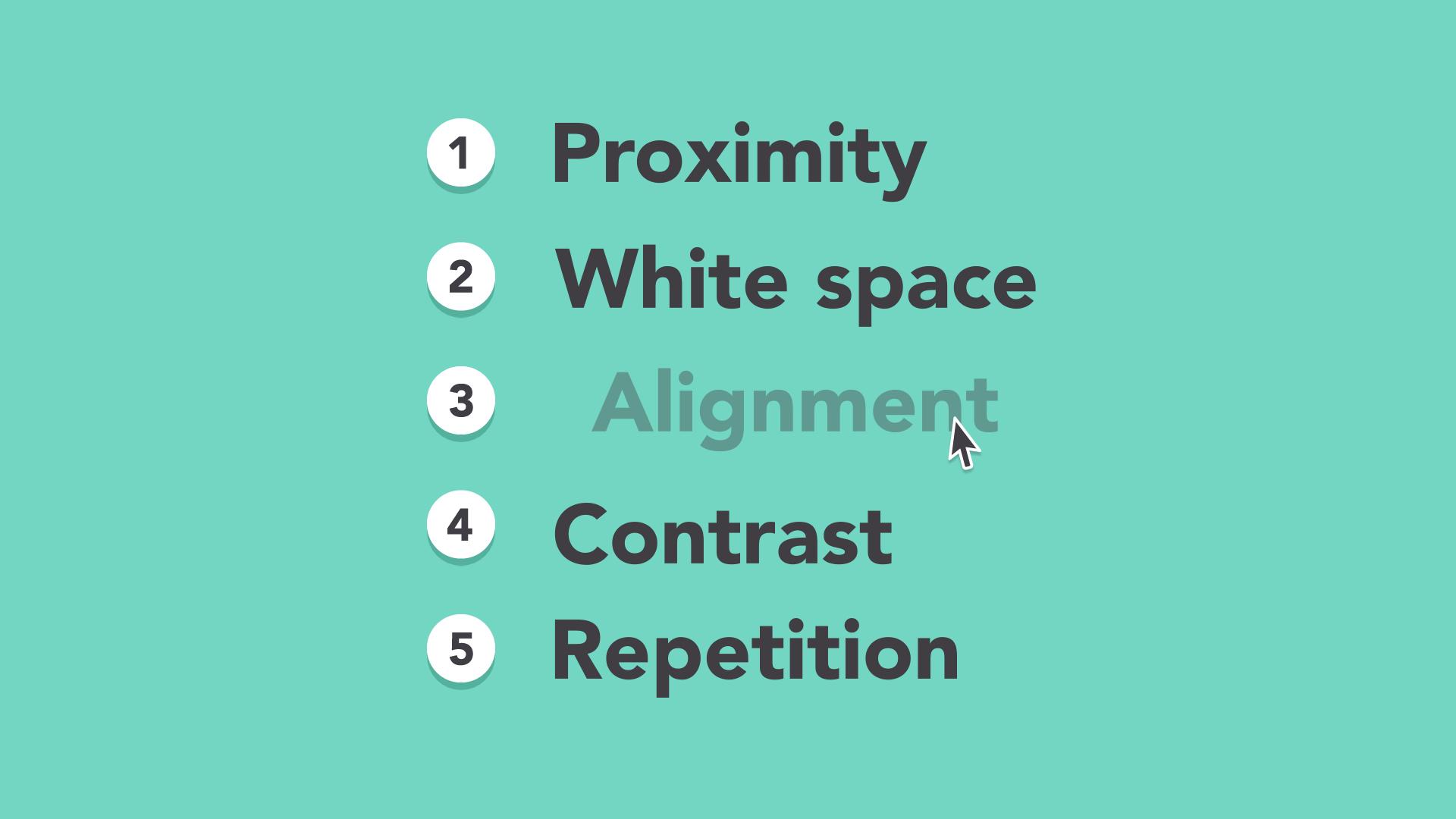La composición, proximidad, espacio en blanco, alineación, contraste, repetición
