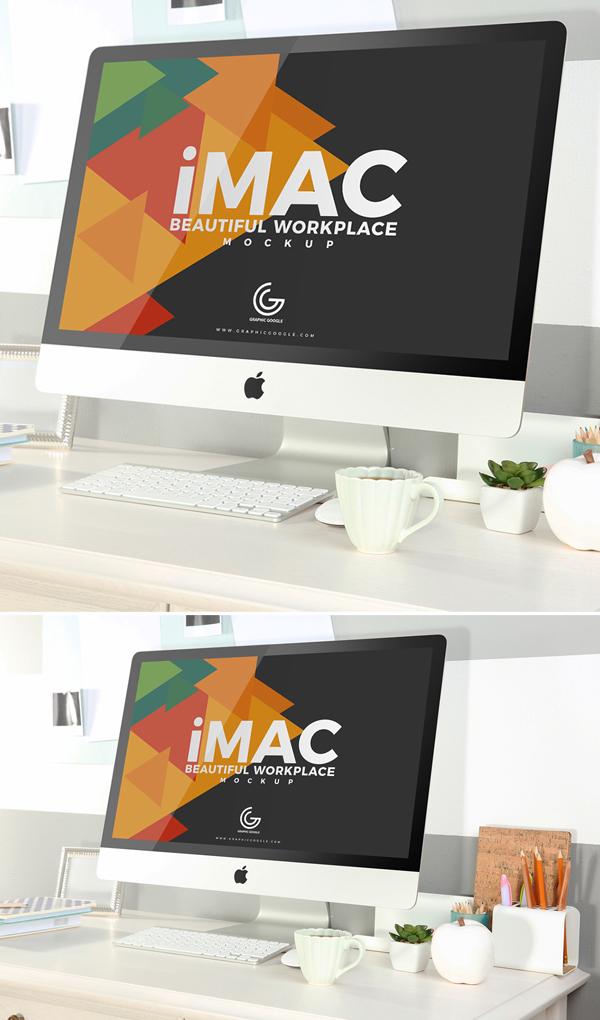 Libre hermoso lugar de trabajo iMac maqueta 2018