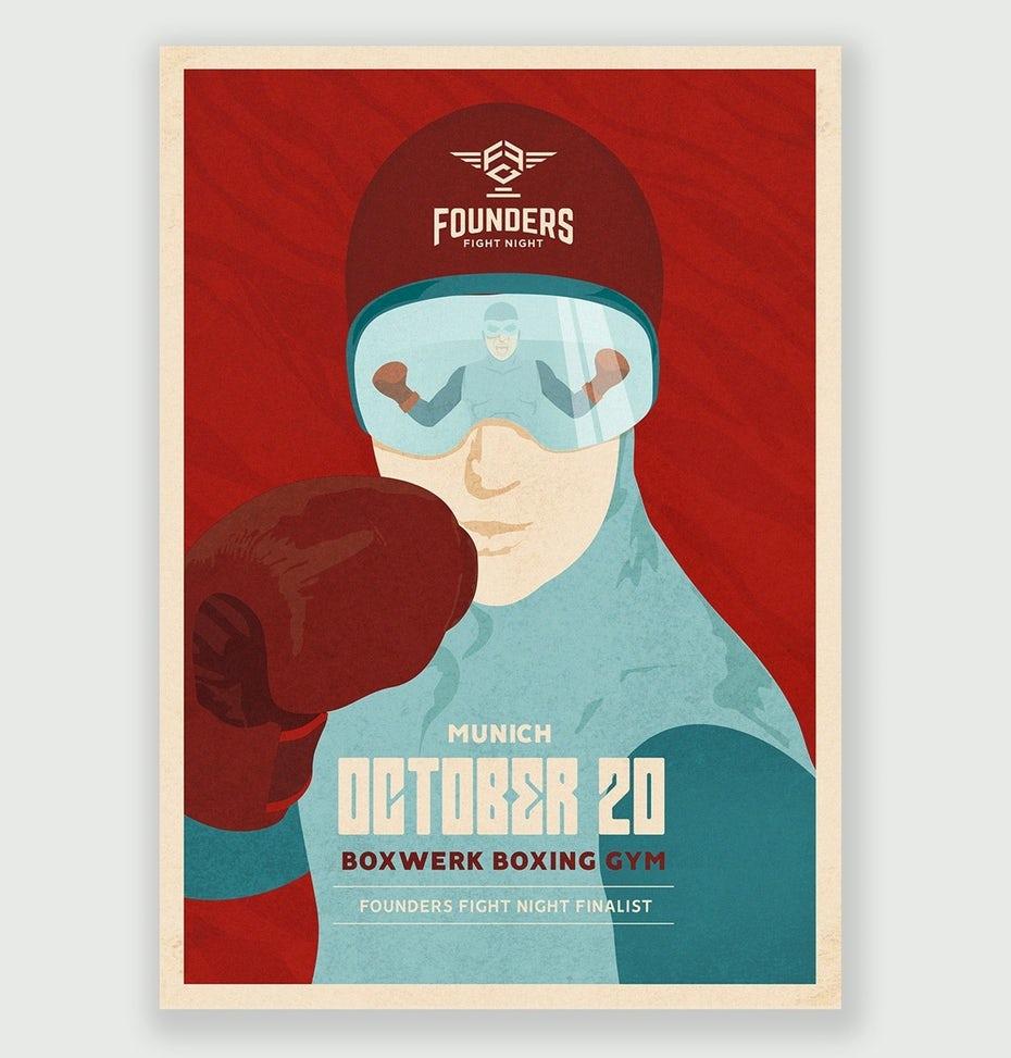 tendencias de diseño gráfico, Póster retro-futurista de boxeo.