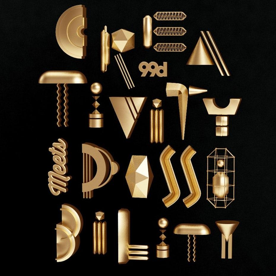 tendencias de diseño gráfico, Un cartel metálico creativo y divertido.