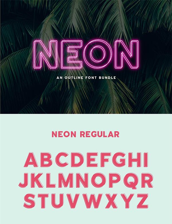 Neon - Un paquete de fuentes de contorno