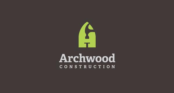 Logotipos y Diseños que utilizan espacio negativo - Archwood Construction