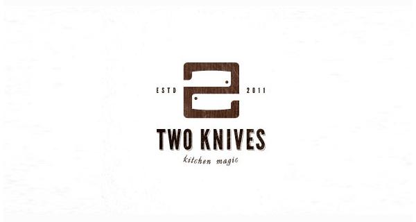 Logotipos y Diseños que usan espacio negativo - Dos cuchillos