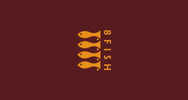 Diseños de logos creativos que usan espacio negativo - 8 Peces