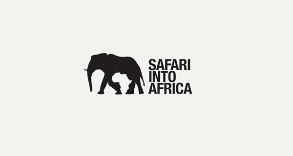 Diseños de logotipos creativos que utilizan espacio negativo - Safari en África