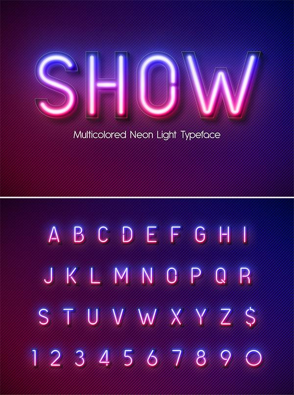Alfabeto neón luz multicolor