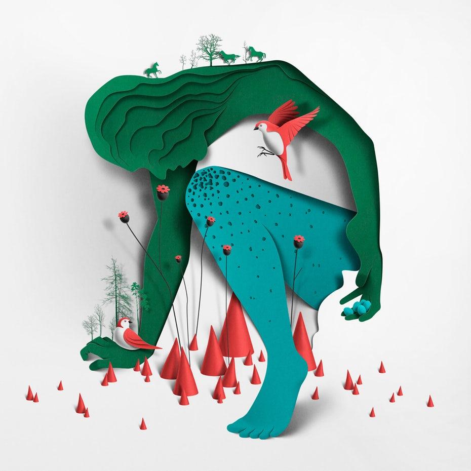 tendencias de diseño gráfico, Diseño de papel de mujer verde.
