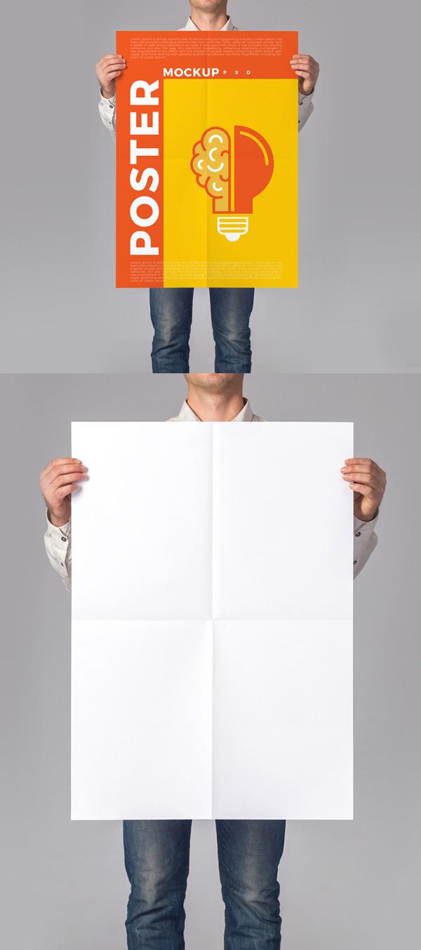 Hombre sosteniendo cartel Plantillas Mockups PSD gratis