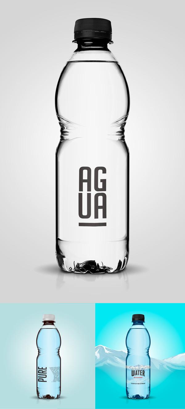 Maqueta de botella de plástico transparente