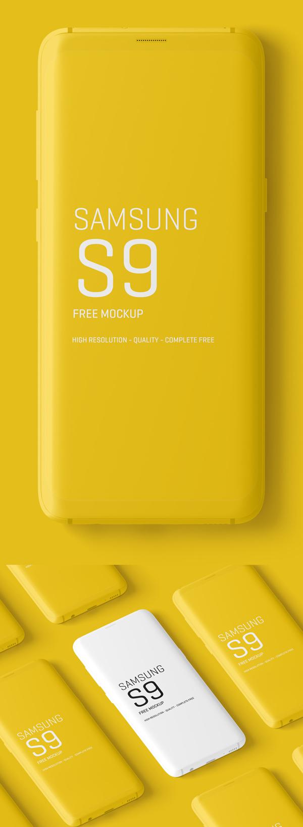 Maquetas mínimas gratuitas de Samsung Galaxy S9
