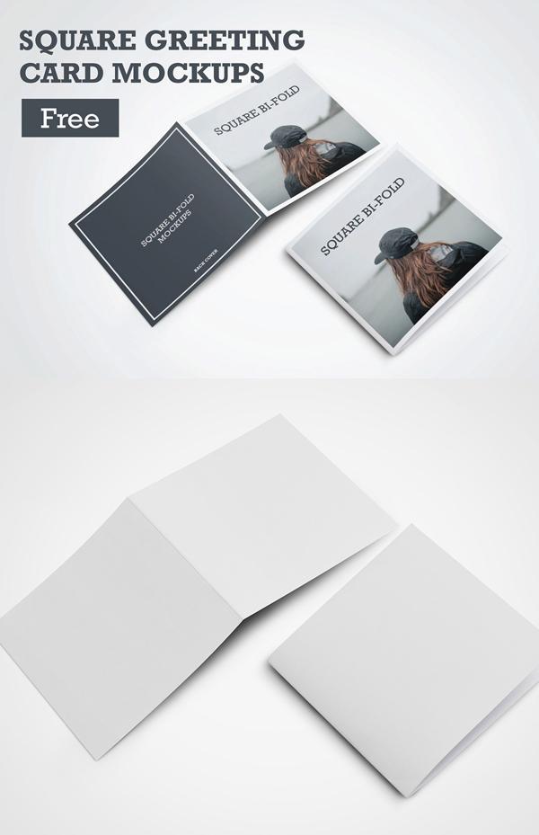 Tarjeta de felicitación cuadrada PSD gratis maquetas