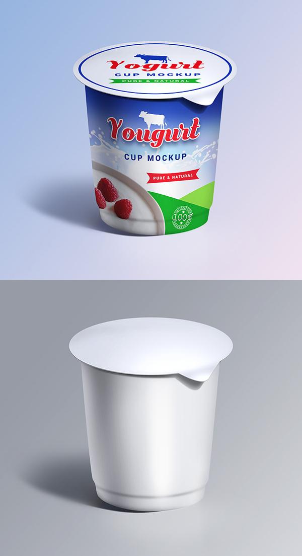 Plantillas Mockups gratis para la taza de yogur