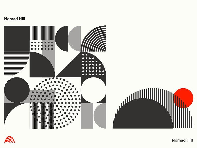 tendencias de diseño gráfico, Logotipo de diseño gráfico moderno de mediados de siglo