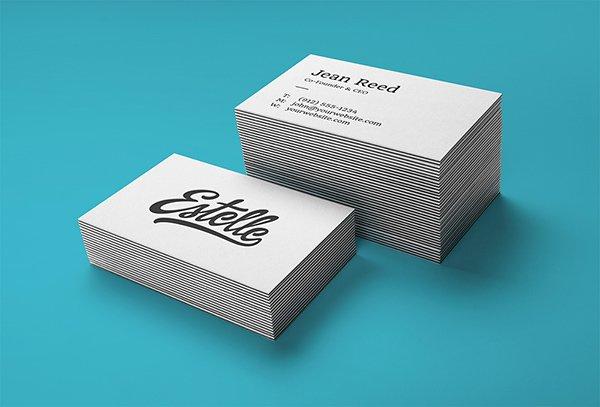 Pila de tipografía tarjetas de visita MockUp